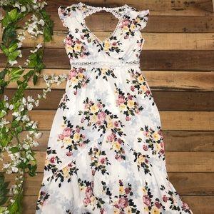 Sleeveless Boho Floral Backless Dress
